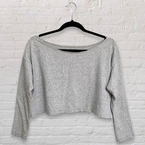 American Apparel Cropped Grey Sweatshirt Straight Neckline